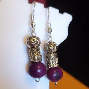 Silver Tone Hook Purple Seed Metal Bead Earrings